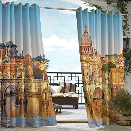 (Outdoor- Free Standing Outdoor Privacy Curtain Wanderlust Decor Collection,Tiber and St Peter Landmark Monument Sunny Touristic Travel Destination View Print,Blue Mustard,W72