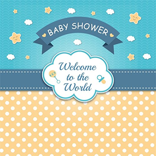 CSFOTO 8x8ft Background for Baby Shower Photography Backdrop Sweet Waiting Welcome Little One Party Celebrate Boy Girl Gender Reveal Pregnant Announcement Photo Studio Props Vinyl Wallpaper (Album Photo Digital 8')