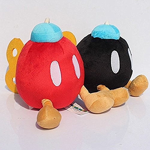 Super Mario Plush 5.2 Inch / 12cm Bob-omb Bomb 2pcs Set Doll Stuffed Animals Figure Soft Anime Collection Toy
