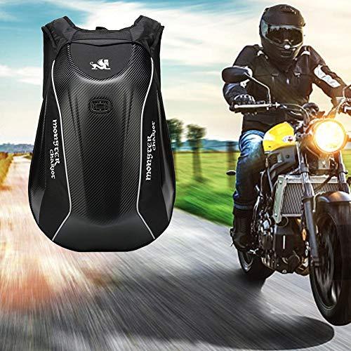 Enjoyment Motorcycle Backpack Waterproof Hard Shell Backpack Riding Laptop Bag - Carbon Fiber Motorbike Helmet Backpack Storage Bag 30L Large Capacity - for Travelling Camping Cycling