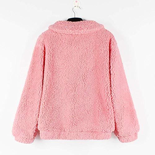 Peludo Rosado color Womens Winter Qiusa Casual X Tamaño Parka Warm Outwear large Abrigo Chaqueta Rqv0fqnw
