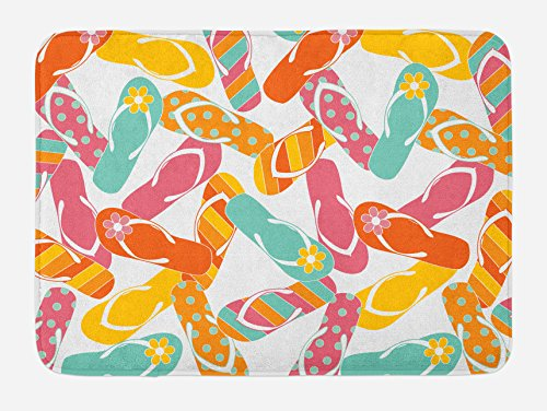 """Ambesonne Summer Bath Mat, Colorful Bunch Flip Flops Sandals Pattern Relax Holiday Sunbath Theme Groovy Graphic, Plush Bathroom Decor Mat with Non Slip Backing, 29.5"""" X 17.5"""", Yellow Pink"""