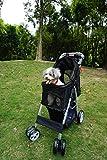 Ouzen 4 Wheel Pet Stroller for Cat Dog,Black Travel Folding Carrier