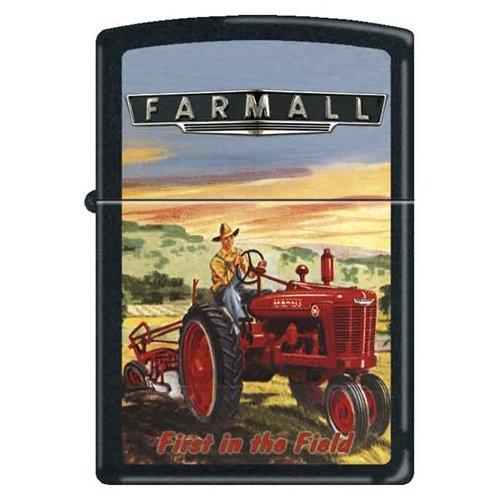 (Zippo Custom Lighter - Farmall First in the Field Logo RARE!)