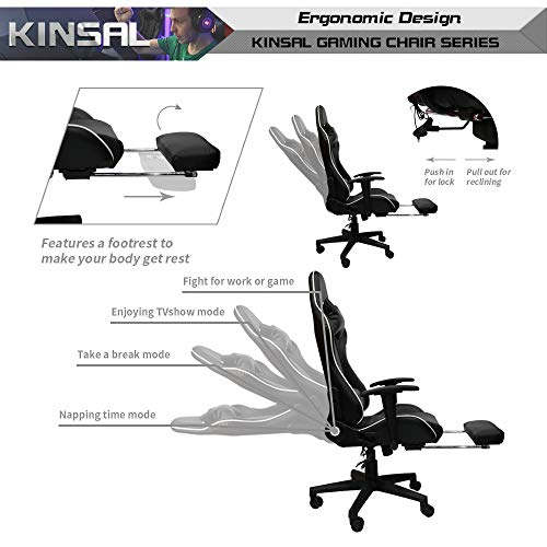 Kinsal Ergonomic High Back Large Size Gaming Chair With