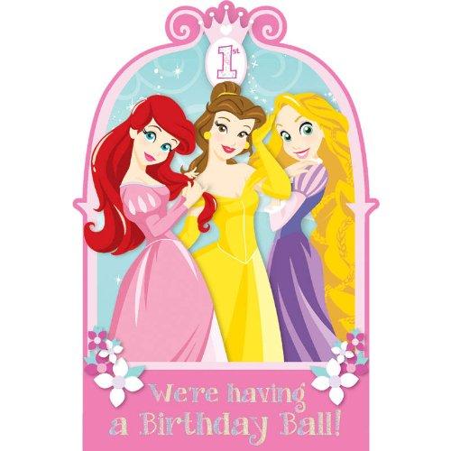Amscan party supply Disney Princess 1st Birthday Invitations, 48 Ct, Multicolor