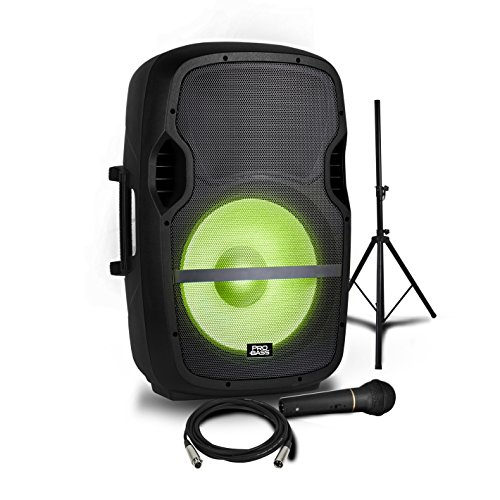 Pro Bass Elevate LP Portable Powered 15' Loudspeaker Microphone + Mic Cable + Stand + RGB Lights 2000W Bluetooth USB/SD MP3 Player Remote Control ((No rechargeable battery)