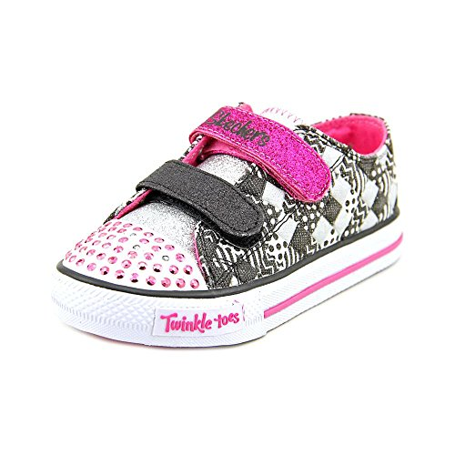 6ba5491715b3 Skechers Infant Toddler Girls  Twinkle Toes Shuffles Patchwork Party Sneaker