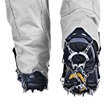 Crampons Non-slip Shoes Cover-1 Pair 19 Teeth Claws Stainless Steel Chain Outdoor Ski Ice Snow Hiking Climbing Traction Cleats Microspikes for Women or Men