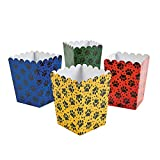 Fun Express Mini Paw Print Party Popcorn Boxes Blue, Red, Yellow - 24 Pieces