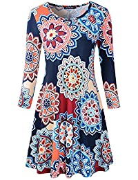 Women's Scoop Neck 3/4 Sleeve Floral Flare Casual Swing T-Shirt Dress