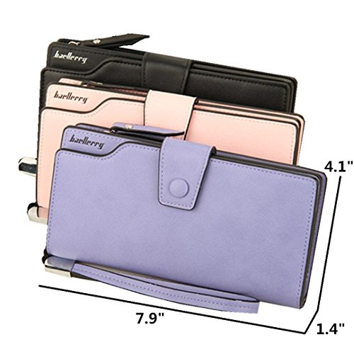 Wallets Wrist Clutch Women's Capacity X Light iPhone Purse for Purple with Long Large Card Strap for Ladies Organizer Holder Leather gqwWw5tR