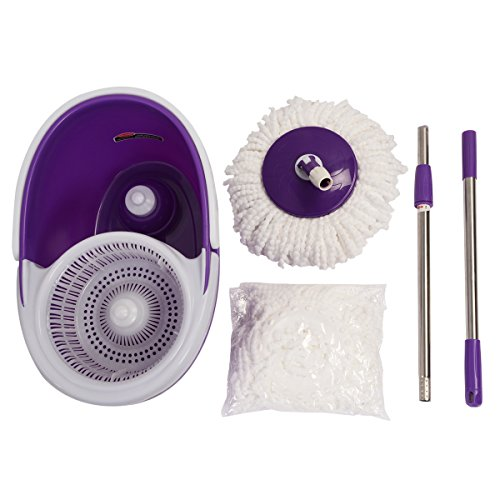 Easy Magic Floor Mop 360° Bucket 2 Heads Microfiber Spin Spinning Rotating Head (Purple) by Sustainables (Image #1)