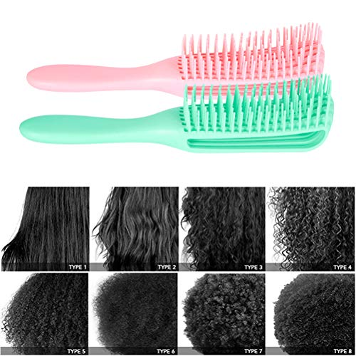 Emoly 2 Pack Detangling Brush for Natural Hair-Detangler for America 3a to 4c Kinky Wavy, Curly, Coily Hair, Detangle Easily with Wet/Dry (Green& Pink)