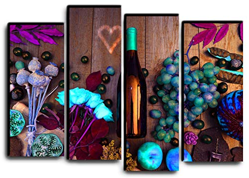 - Big Set Wine Bottle Wall Art Decor Picture Painting Poster Print on 4 Canvas Panels Pieces - Wine Flowers Still Life Theme Wall Decoration Set - Wall Picture for Kitchen Dining Room 32 by 44 in