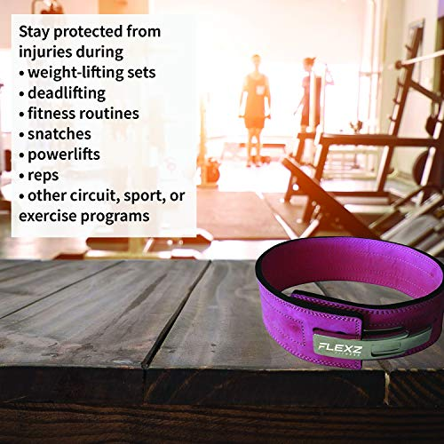 Flexz Fitness Lever Buckle Powerlifting Belt 10mm Weight Lifting Pink Small by Flexz Fitness (Image #4)