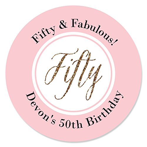 Custom Chic 50th Birthday - Pink and Gold - Personalized Birthday Party Favor Circle Sticker Labels - Set of 24