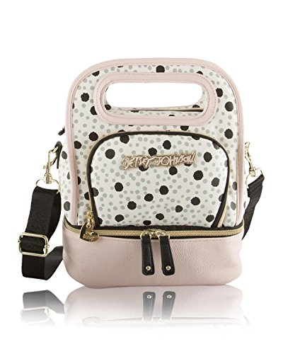 Betsey Johnson Be Mine Top Handle Lunch Tote Bag, White/Pink/Spots