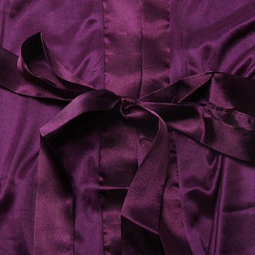 SiDiOU Group Traje de noche para las mujeres Vestido de satén Vestido de imitación de seda Kimono de satén ropa interior de encaje Ropa de dormir de seda de hielo Estilo 1-Púrpura