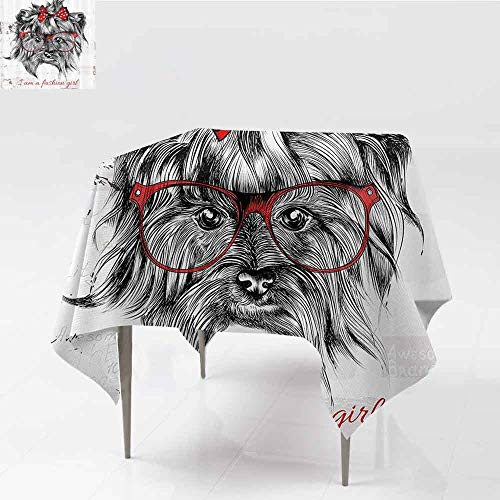 GOMAE Creative Square Tablecloth I am a Fashion Girl Quote Sketch Cute Hipster Dog with Sunglasses and Red Bow Buffet Table,Parties,Holiday Dinner,Wedding,Picnic,Kitchen Red Black White ()