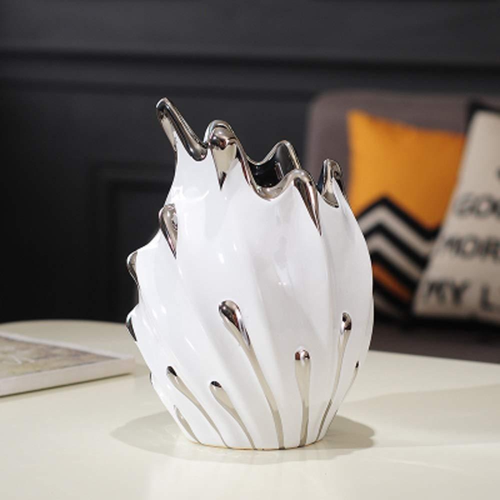 ヨーロッパスタイルのセラミック花瓶用花グリーン植物結婚式の植木鉢装飾ホームオフィスデスク花瓶花バスケットフロア花瓶 (色 : シルバー しるば゜, 三 : B) B07QSJHN9S
