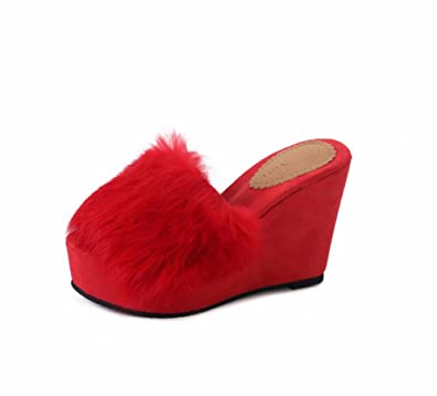 Ladies Slippers Slope with Thick Bottom Hair outside to Keep Warm