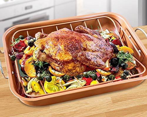 Copper Turkey Pan Roaster w/Rack Nonstick 2 Piece