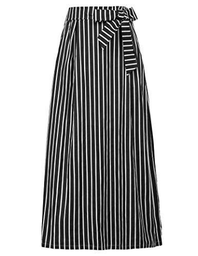Elastic Waisted Vertical Striped Long Skirts With Pocket Size XL Black