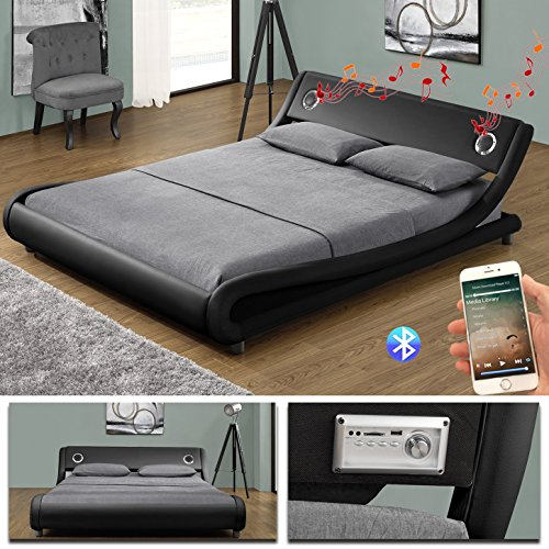 MEMPHIS Bluetooth Doppelbett Polsterbett Bettgestell Bett Lattenrost Kunstleder (180 x 200cm, Schwarz)