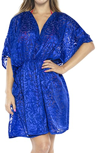 LA LEELA Chiffon Burnout Fabric Cardigan Cover Up OSFM 8-14 [M-L] Royal Blue_880 ()