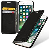 Tetded® iPhone 7 Hand Crafted Slim Profile Genuine Cowhide Leather Credit Card Case (Wallet, Black)