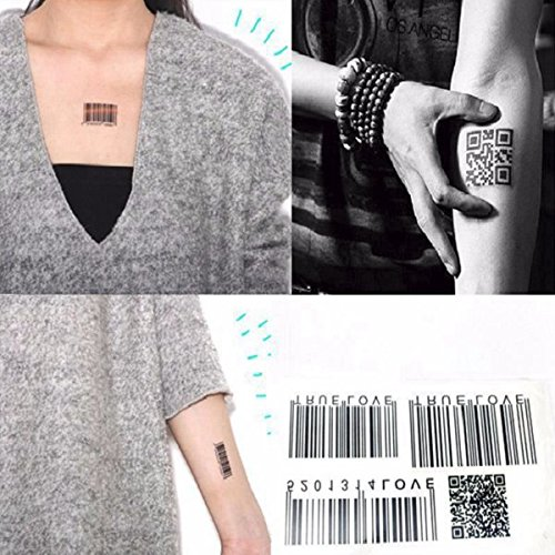 Temporary Tattoos - Barcode Tattoo Temporary Code Shoulder Avantgarde Neck - Personalized Waterproof Barcode Totem Tattoos Removable Body Art Stickers - Temporary Tattoos Shoulder - 1PCs (Cipher Scanner)
