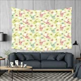 smallbeefly Anime Tapestry Wall Tapestry Funny Bunnies Clouds and Bones Pattern Doodle Kawaii Illustration Art Wall Decor 60''x51'' Pale Green Pale Pink Seafoam