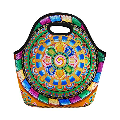 Semtomn Lunch Bags Asia Colorful Ancient Buddhist Fresco Tibetan of Mural Antique Neoprene Lunch Bag Lunchbox Tote Bag Portable Picnic Bag Cooler Bag