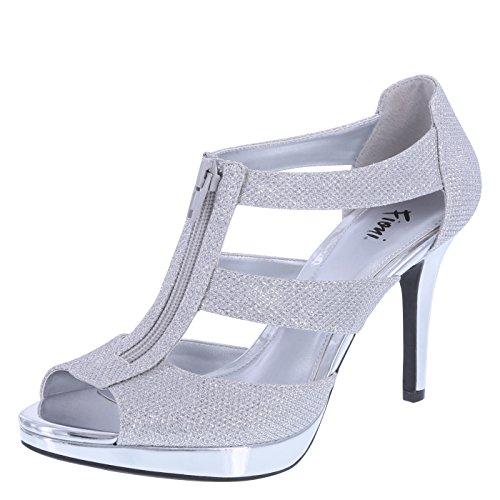 9500f5579d2 Fioni Women s Silver Women s Layla Front-Zip Heel 13 Regular