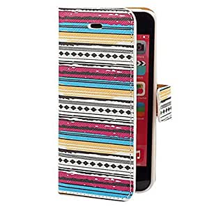 Mini - Aztec Colorful Stripe Pattern PU Full Body Case with Card Slot and Stand for iPhone 5C