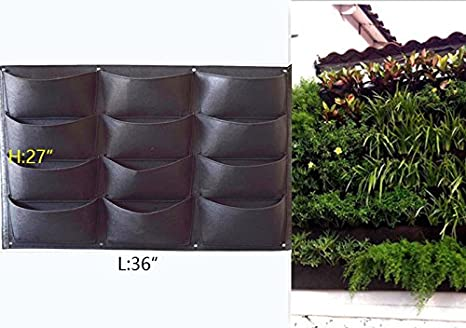 Vertical Garden Pot Amazon garden vertical planter multi pocket wall mount living garden vertical planter multi pocket wall mount living growing bag felt indooroutdoor pot workwithnaturefo