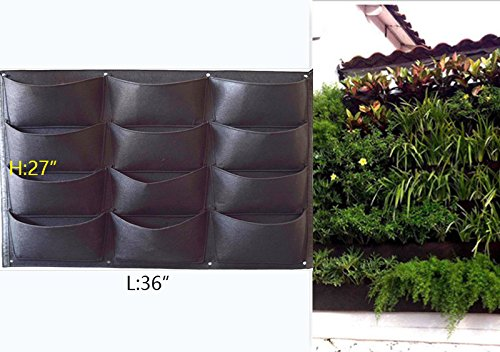 (Garden Vertical Planter Multi Pocket Wall Mount Living Growing Bag Felt Indoor/Outdoor Pot (12-Pocket (3x4)))