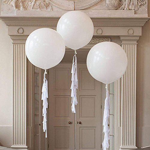FONBALLOON PARTY (Pack of 3) 36 Inch Innocence Giant White Balloon with Large Handmade Tassel Tail in White for Wedding Decoration -
