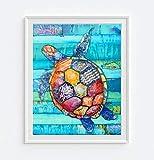 Sea Turtle Honu (Peace & Longevity) by Danny Phillips ART PRINT, UNFRAMED, Hawaiian Beach coastal ocean sea wall decor, Nursery Kids Room, Nautical Summer gift, 8x10 inches