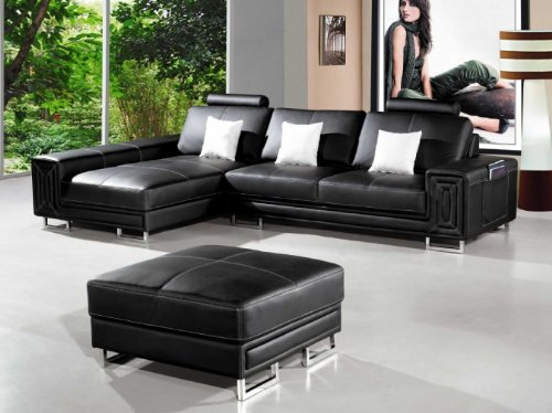 Vig Furniture 2265 Black Bonded Leather Sectional Sofa & Ottoman