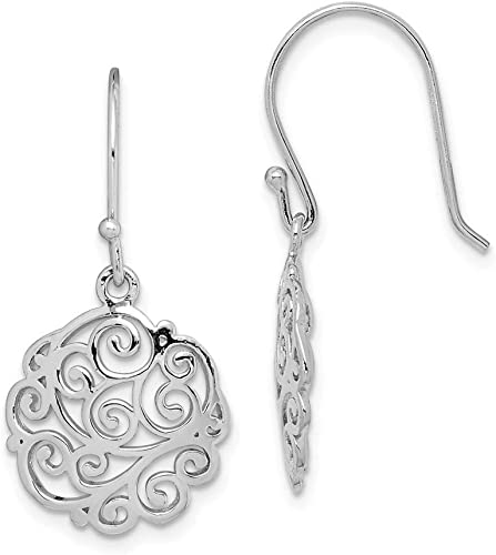 925 Sterling Silver Rhodium-plated Polished Filigree Circle Dangle Earrings