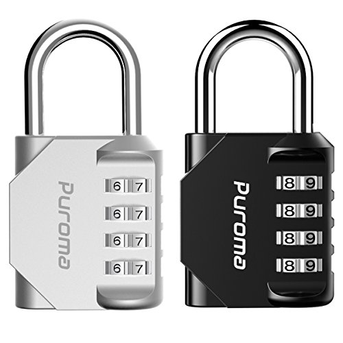 Puroma 2 Pack Combination Lock 4 Digit Padlock for School Gym Locker, Sports Locker, Fence, Toolbox, Case, Hasp Storage (Black & Silver)