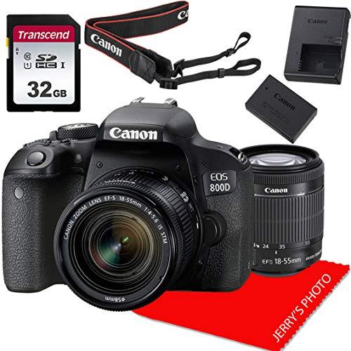 Canon EOS 800D / Rebel T7i DSLR Camera w/Canon EF-S 18-55mm F/4-5.6 is STM Zoom Lens + 32GB Memory Bundle (8pcs)