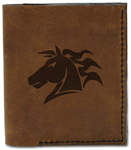 MHLT Handmade Horse Natural Horse Beautiful Abstract Genuine b 04 Leather Wallet Abstract Men's 5 awS4q8W