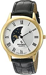 Peugeot Men's 14K Gold Plated Decorative Sun Moon Phase Roman Numeral Watch