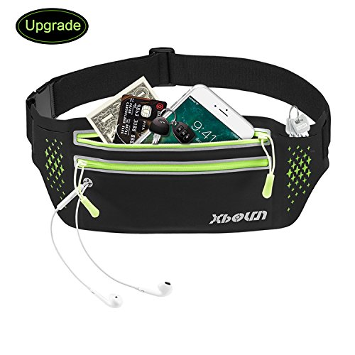 Xboun Upgrade Running Belt, Fanny Pack Sport Waist Belt Headphone Hole, Waist Pack Bag with 2 Zipped Pocket to Hold Cell Phones up to 6.0 Inch Fits for Traveling Hiking and Other Outdoors (Black) For Sale