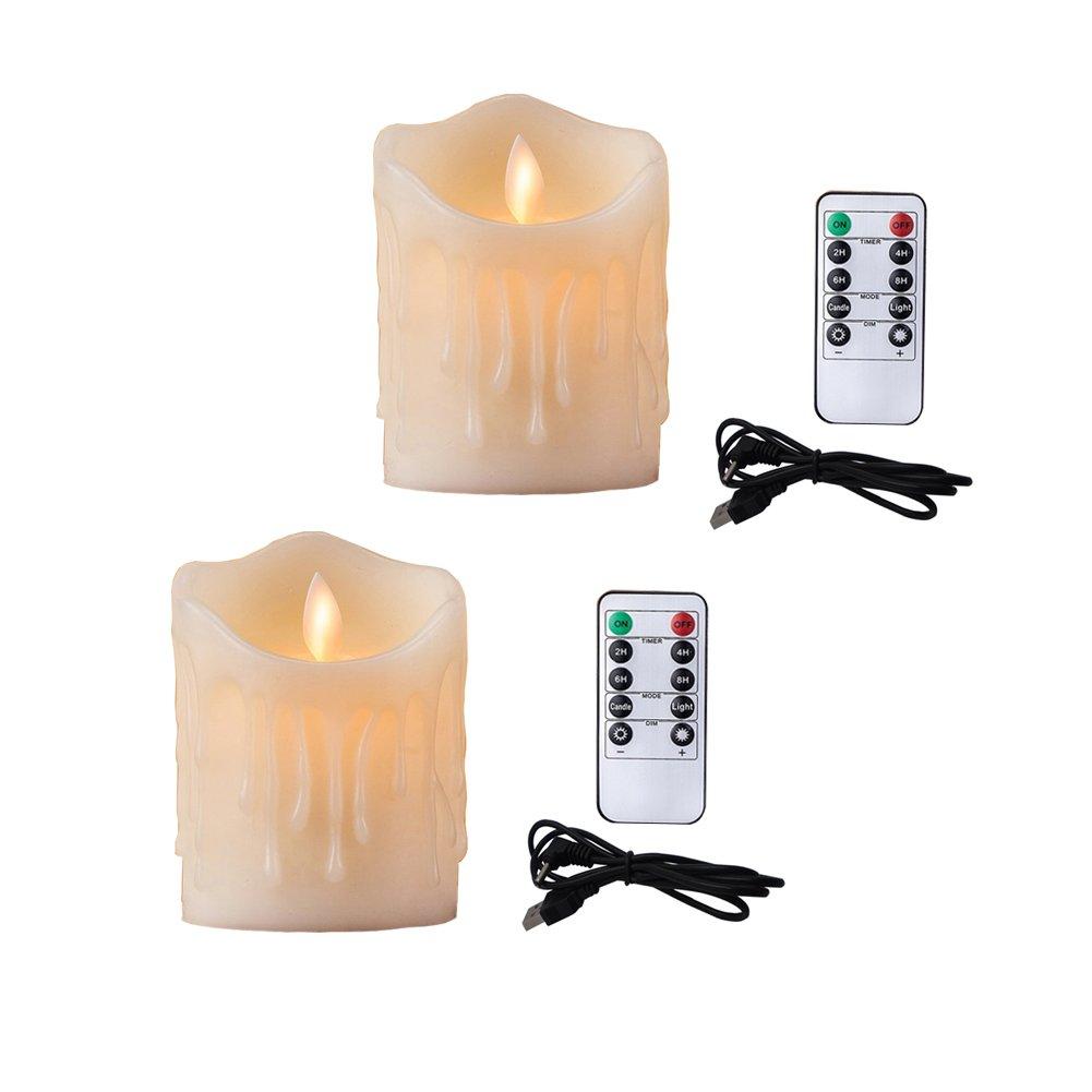 Bello Luna 2pcs 3.94in Velas sin Llama del LED lágrima Onda en Forma de Vela oscilante Ambiental y Recargable con Control Remoto ELE_L_Candle_005