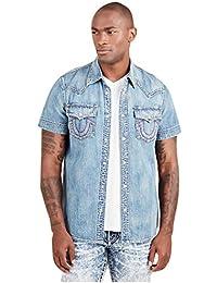 Men's Short Sleeve Denim Shirt in Rough Sand
