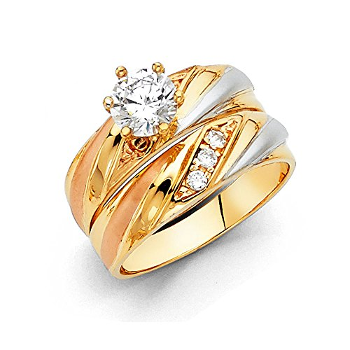 Tri 14k Stone Gold - Wellingsale Ladies Solid 14k Tri 3 Color Gold Polished CZ Cubic Zirconia Round Cut Engagement Ring, and Four 4 Stone Wedding Band, 2 Piece Matching Bridal Set - Size 7.5